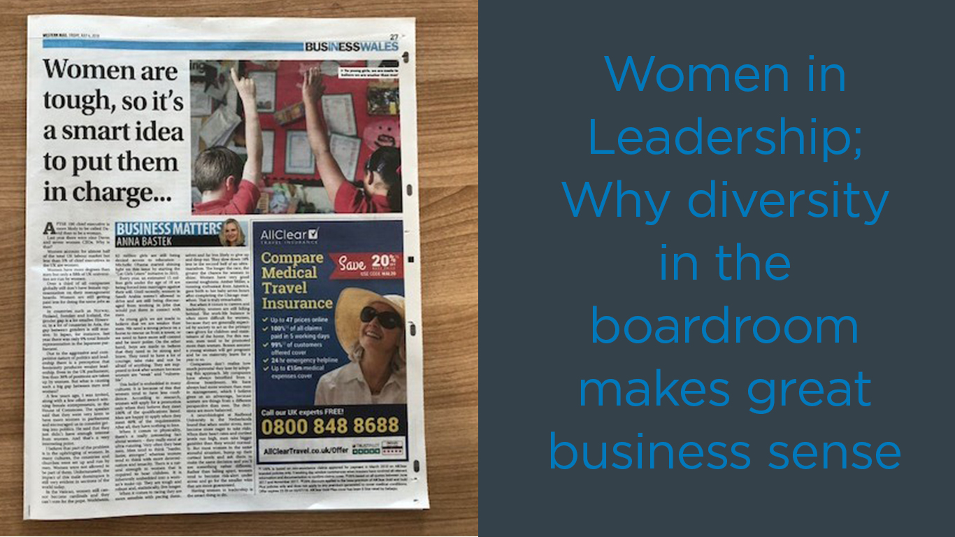 """Left-hand side of image is Anna; Right-hand side of image is article headline """"Women in Leadership; Why diversity in the boardroom makes great business sense."""""""