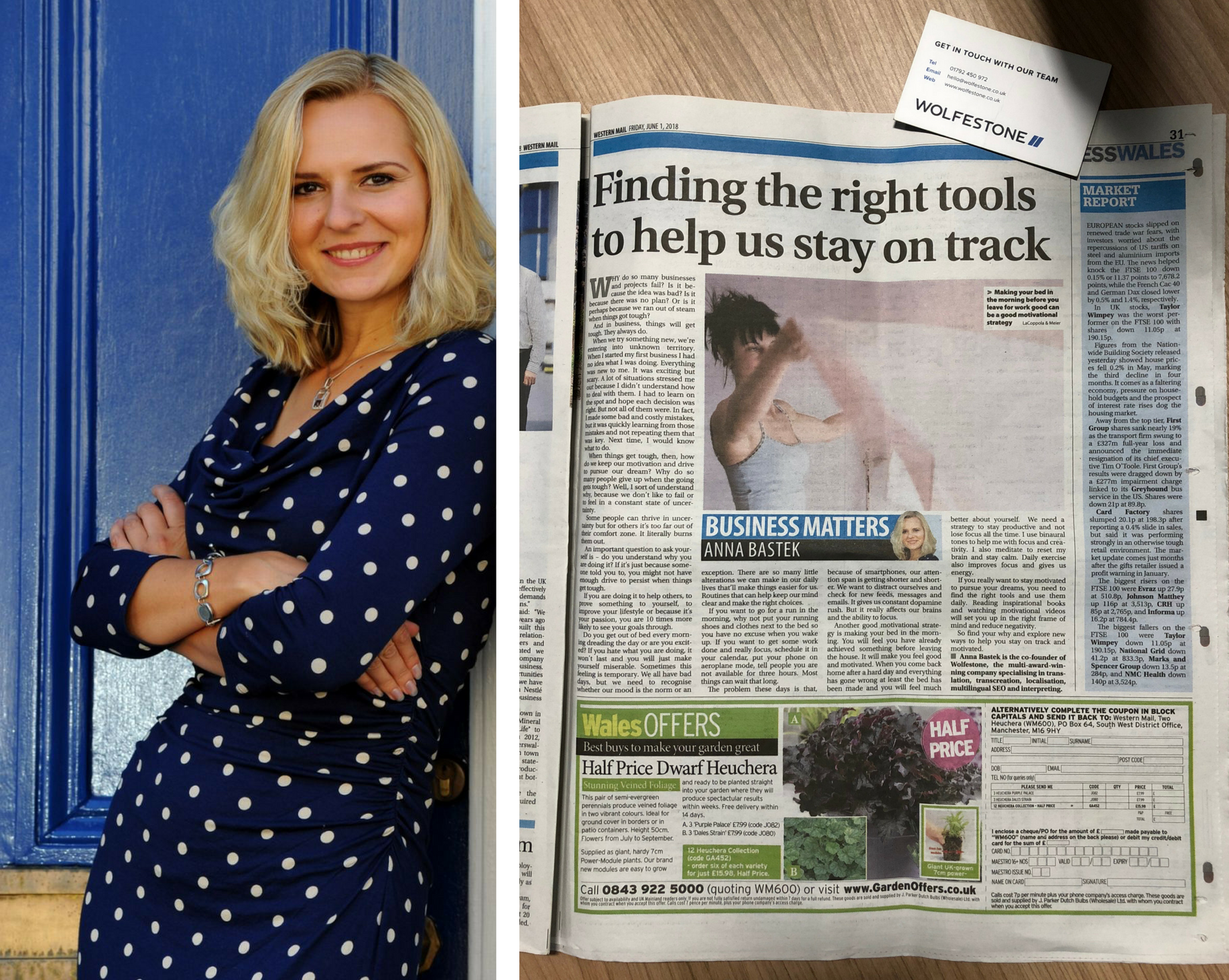 Image split into two parts. On the left is Anna Bastek, writer of the column. On the right-hand side is a picture of the article as it appeared in the Western Mail.