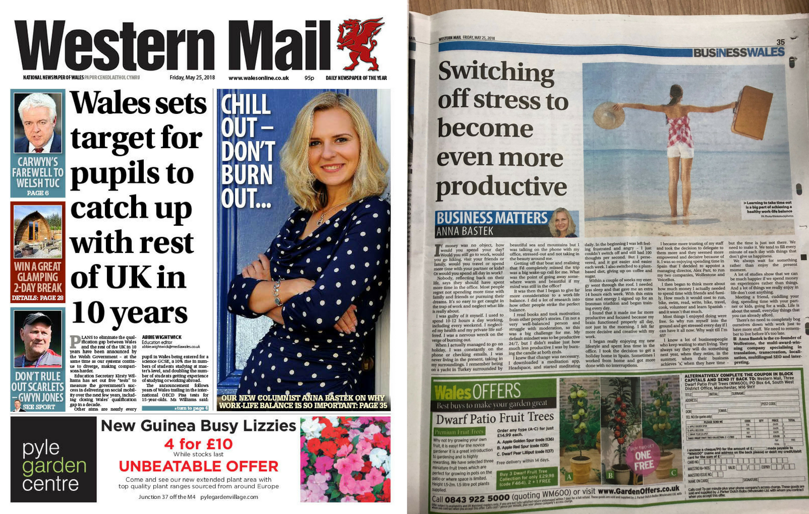 Two images of Anna Bastek's article in the Western Mail. On the left hand side is a PDF image from the front page of the Western Mail. On the right-hand side is an image of her column.