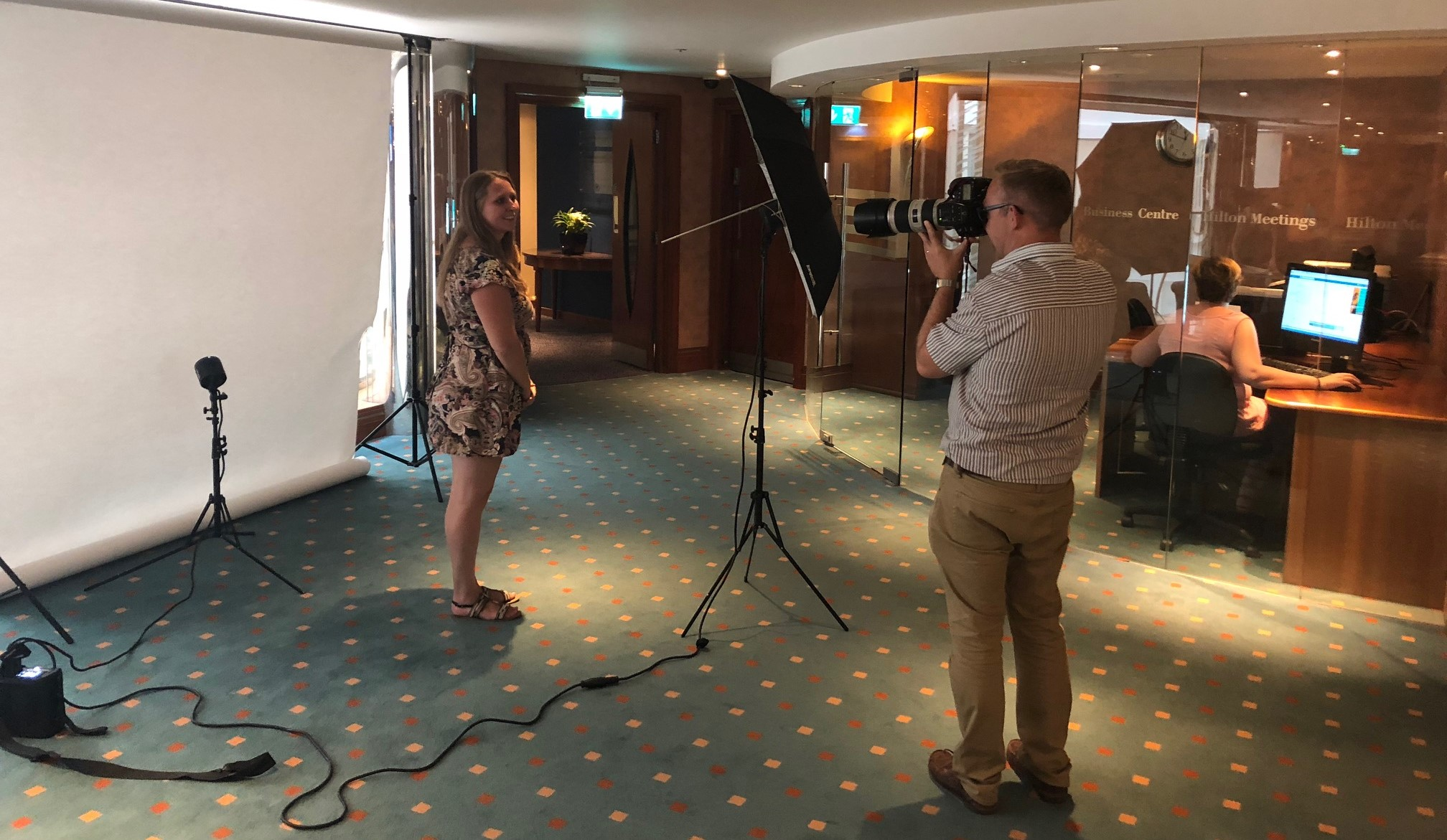 Image of Alex getting photographed for Leading Wales Awards