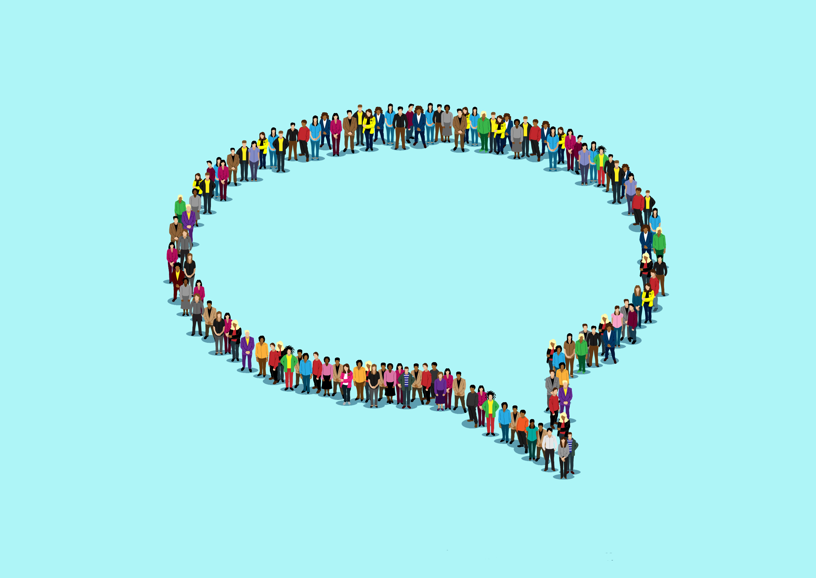 Professional Interpreting: Image of a speech bubble made from people