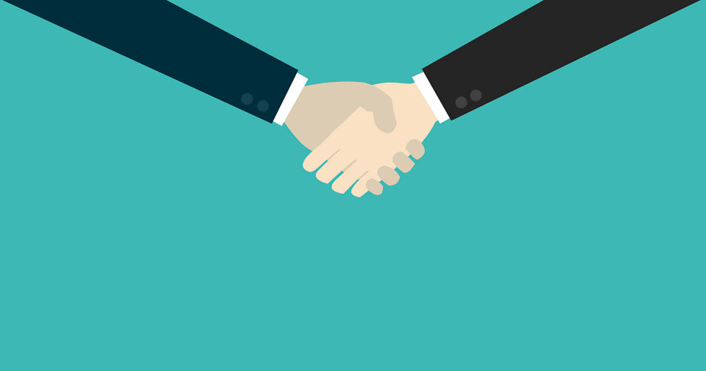 Customer experience demonstrated through client relationship via a handshake