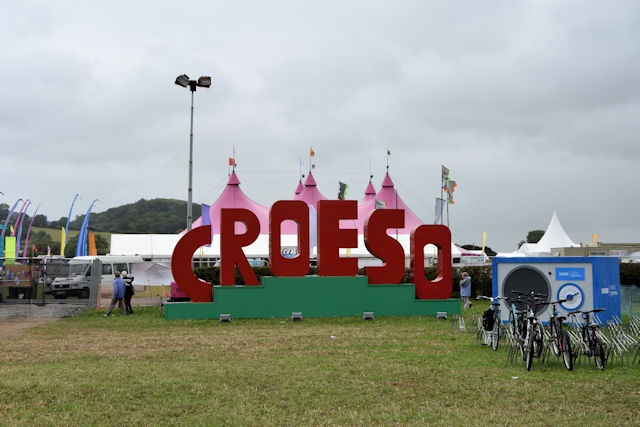 """Image of sign reading """"Croeso"""" outside the National Eisteddfod"""