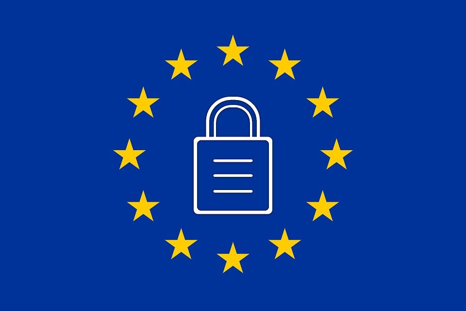 Image of European Union with a lock in the middle, depicting the EU's new GDPR policies.