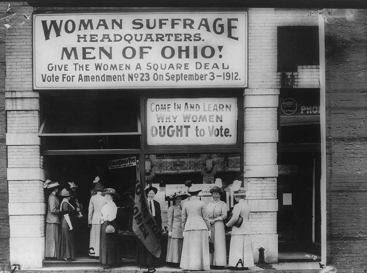 A black and white image of the Woman Suffrage movement in 1912.