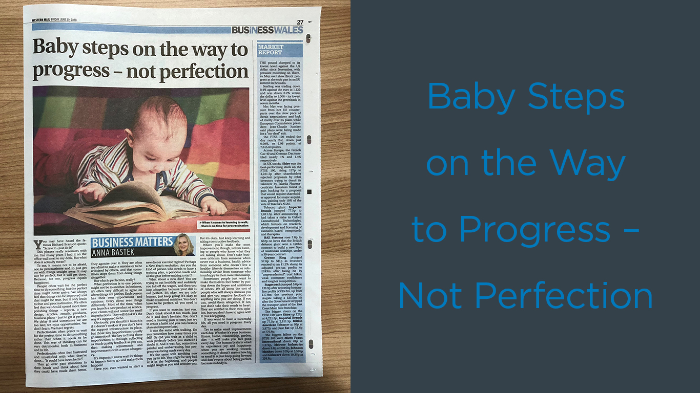 "Left-hand side of image is Anna; Right-hand side of image is article headline ""Baby steps on the way to progress - not perfection."""