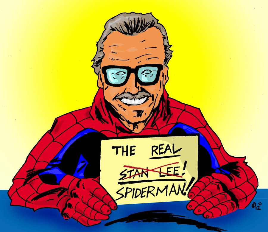 "Cartoon image of Stan Lee in Spider-Man outfit holding a sign which reads ""The Real Spider-Man!"""