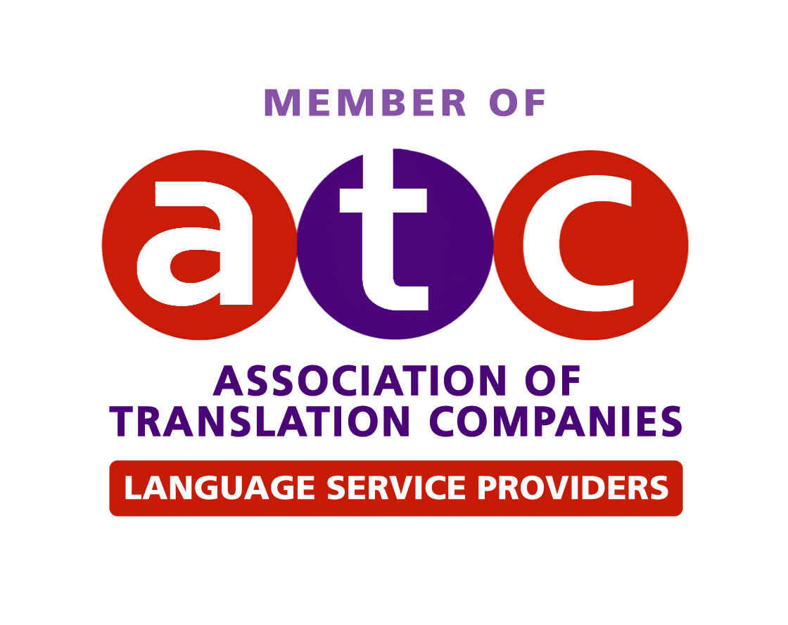 "Image of ATC Logo. Text reads ""Member of ATC (Association of Translation Companies) Language Service Providers."