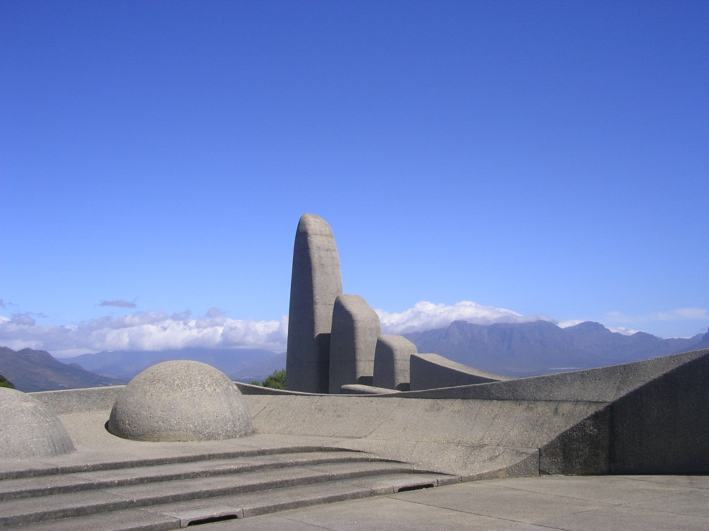 A monument to the Afrikaans language in Western Cape province, South Africa.