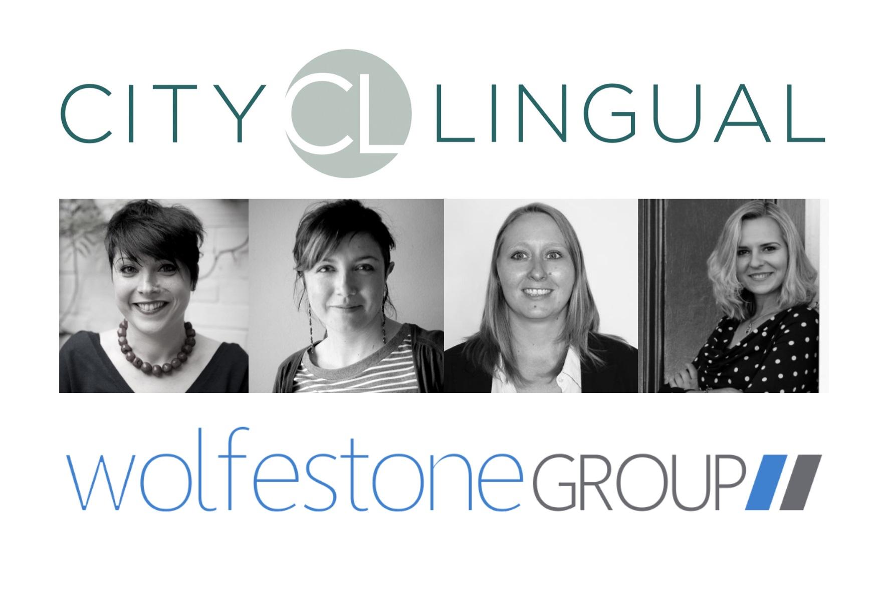 The Wolfestone Group and City Lingual logos with photos of Anna Bastek, Alex Michelle-Parr, Margherita Baldisserri and Sara Ceccarelli