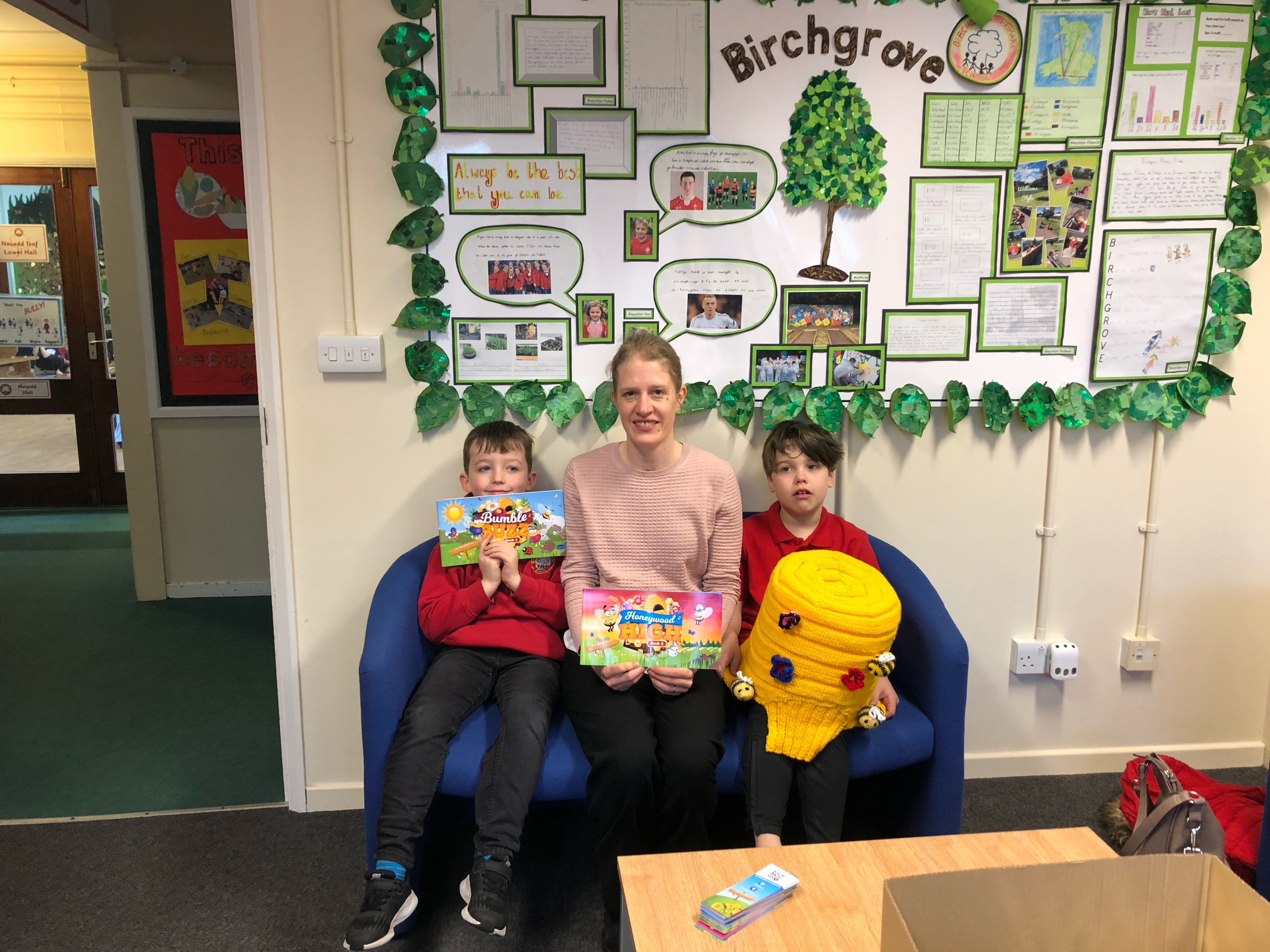 Wolfestone staff member with children at a Swansea school Bumbles of Honeywood project
