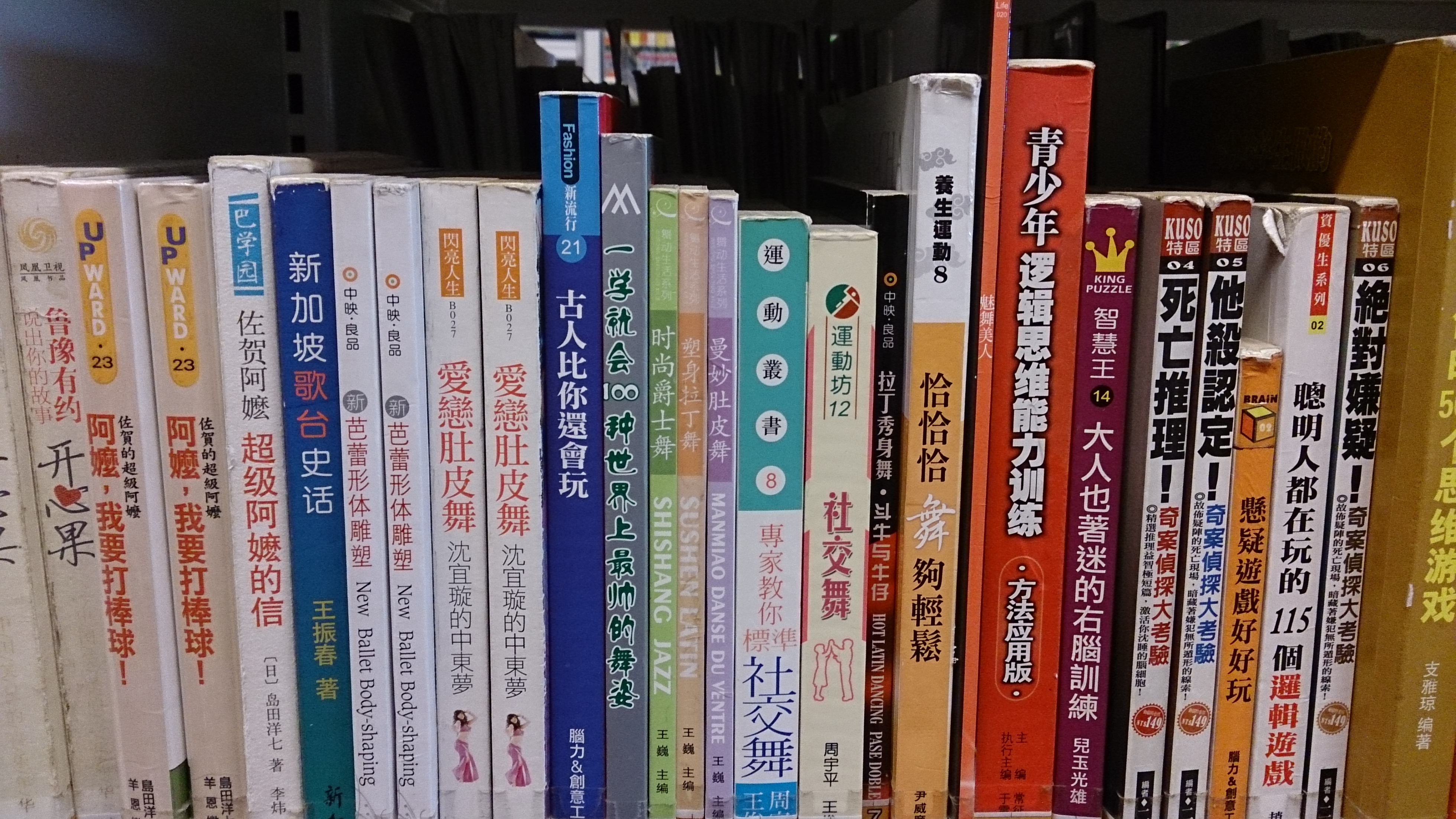 Shelf of books in the Chinese language.