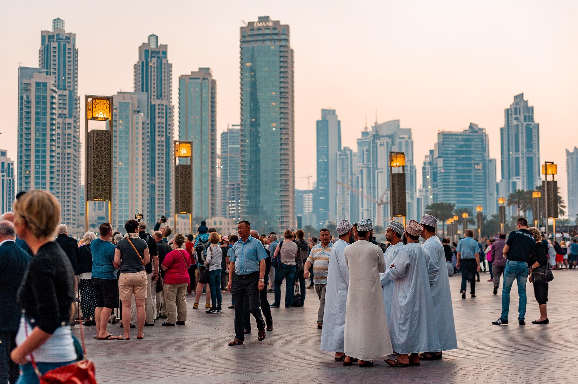 Arabic-speaking men gathering in Dubai
