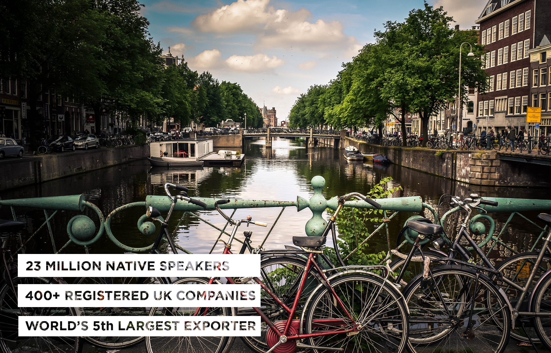"Image from Amsterdam canal accompanied with the text: ""23 Million Native Speakers; 400+ Registered UK Companies; World's 5th Largest Exporter."""