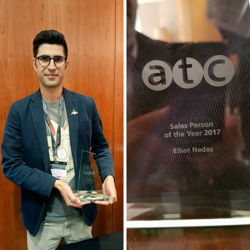 Image of Elliot Nedas with ATC Sales Person of the Year award. Also includes a close-up of trophy.
