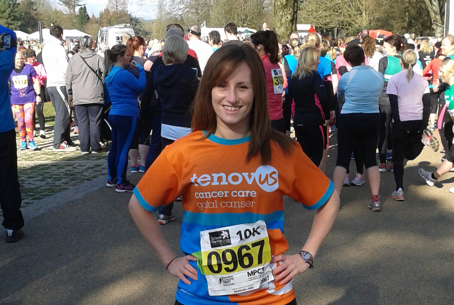Co-Managing Director and Head of HR, Emma Hughes before her 10K run for Tenovus