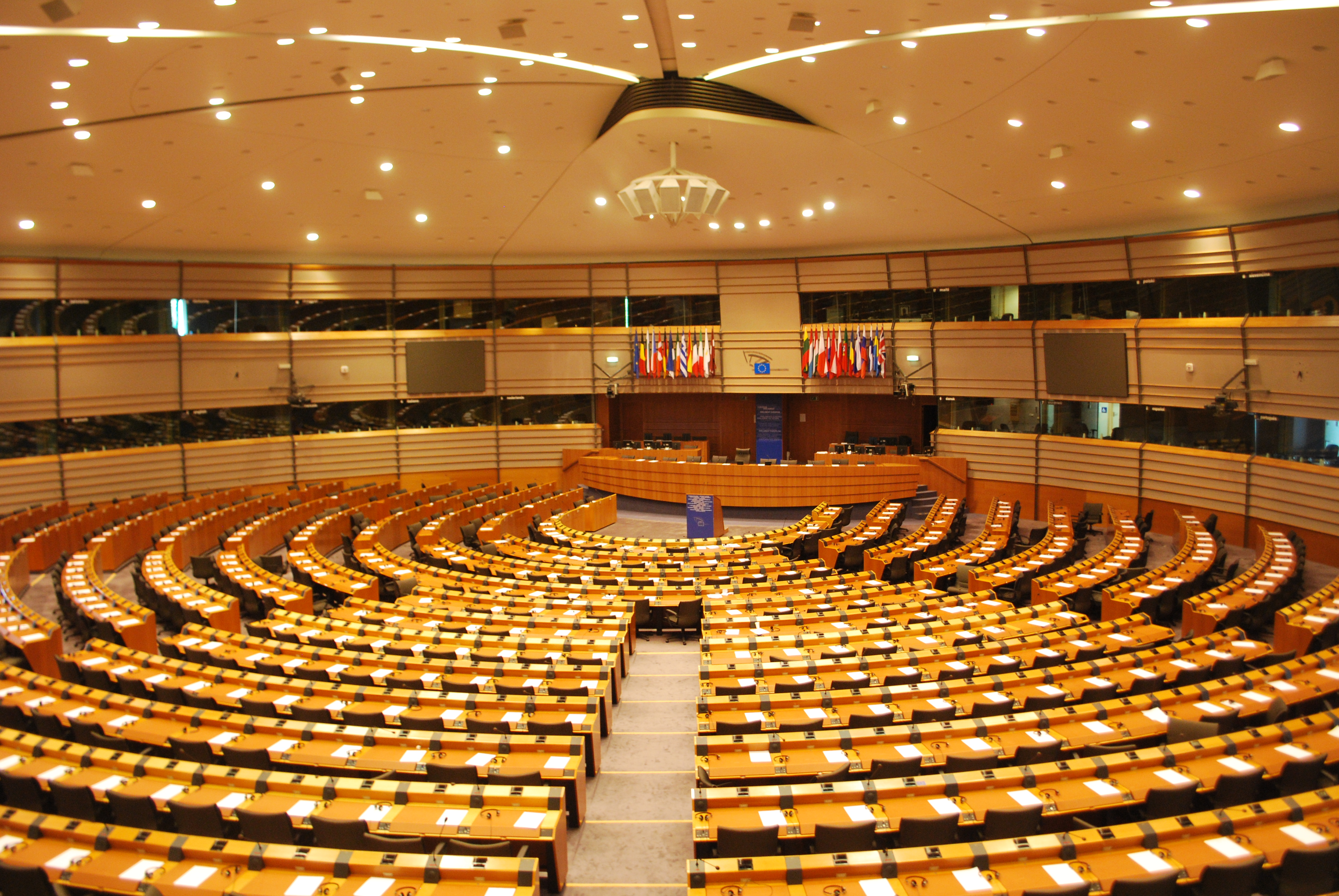 Image of European Parliament: where bilingualism frequently features.