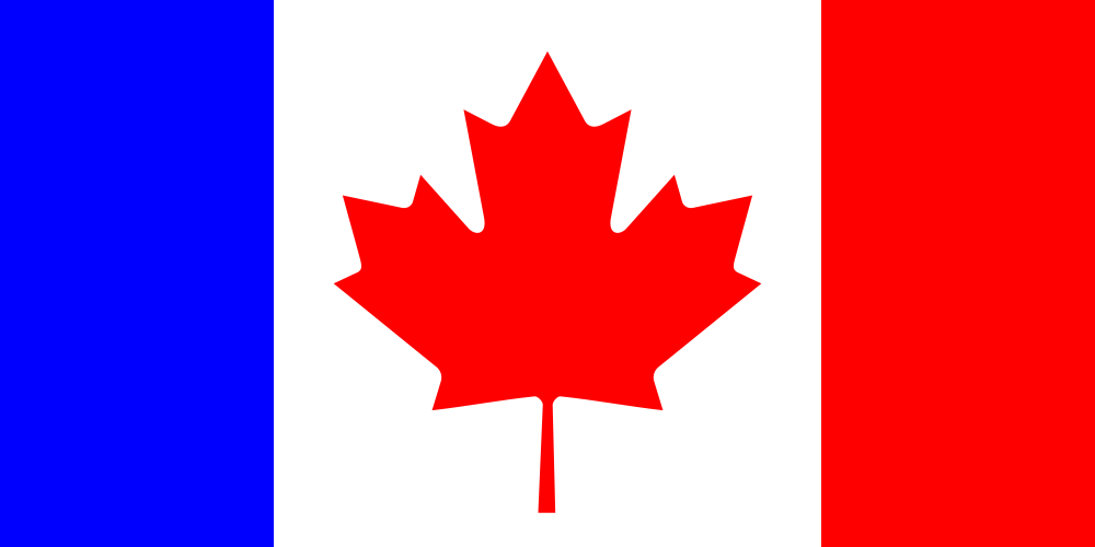 Modified Canadian flag to symbolize the dual nature/bilingualism in Canada.
