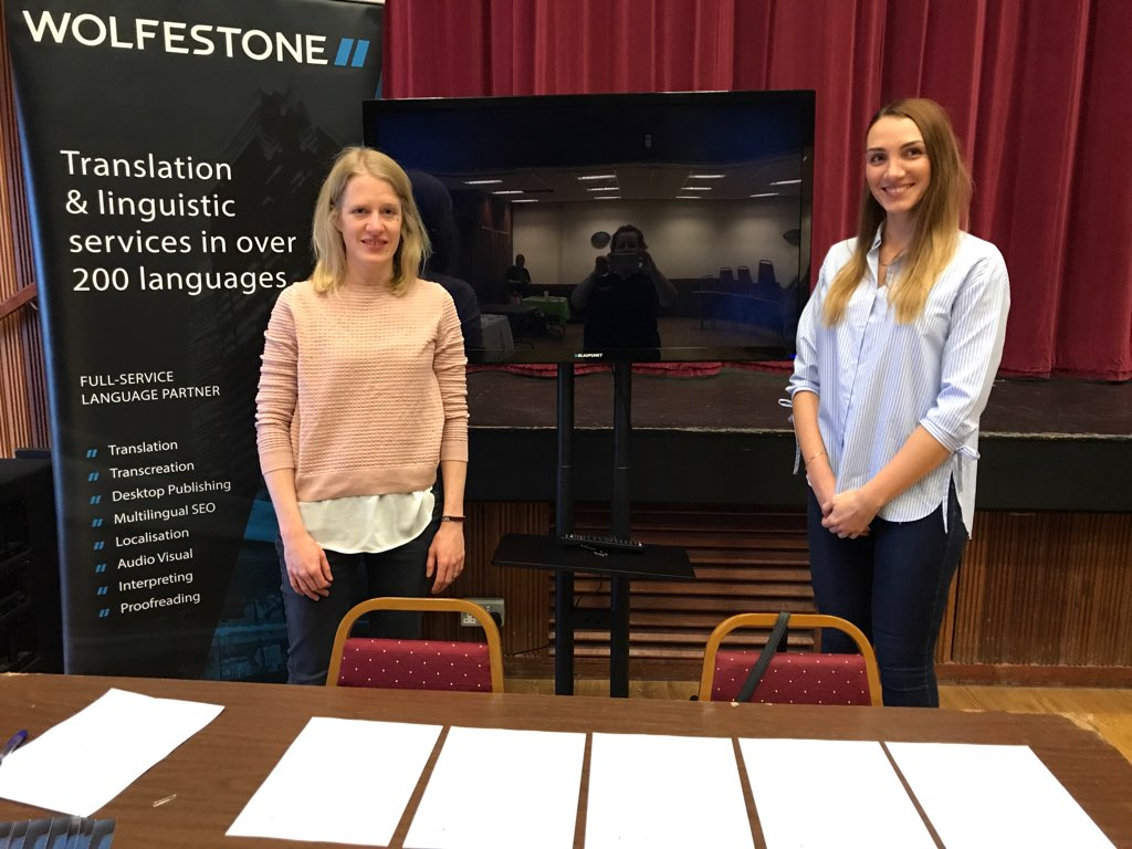 Wolfestone's Linda and Magdalena attend Penyrheol Comprehensive School's Careers Fair.