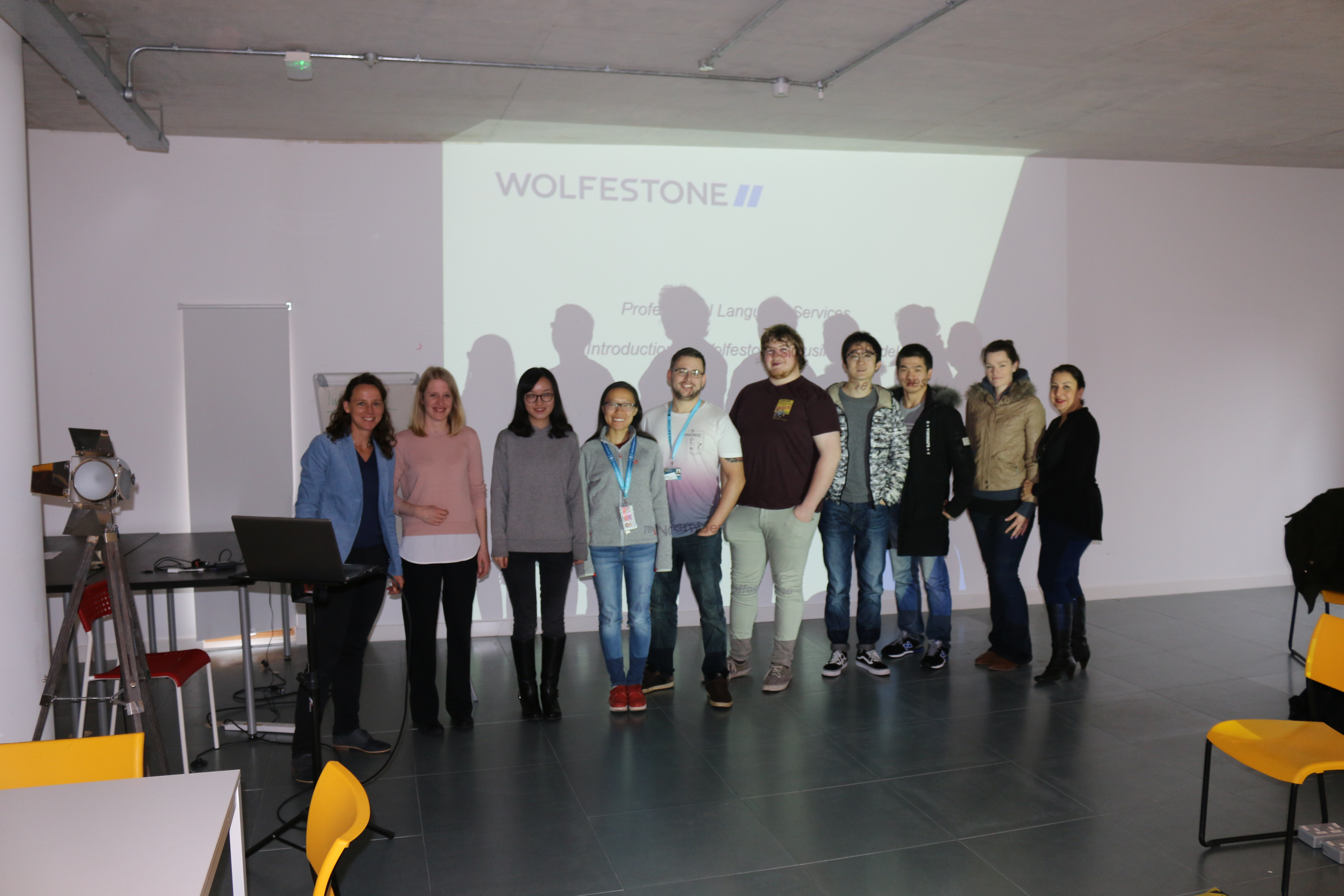 Group photo of students and Wolfestone's Linda Roper.