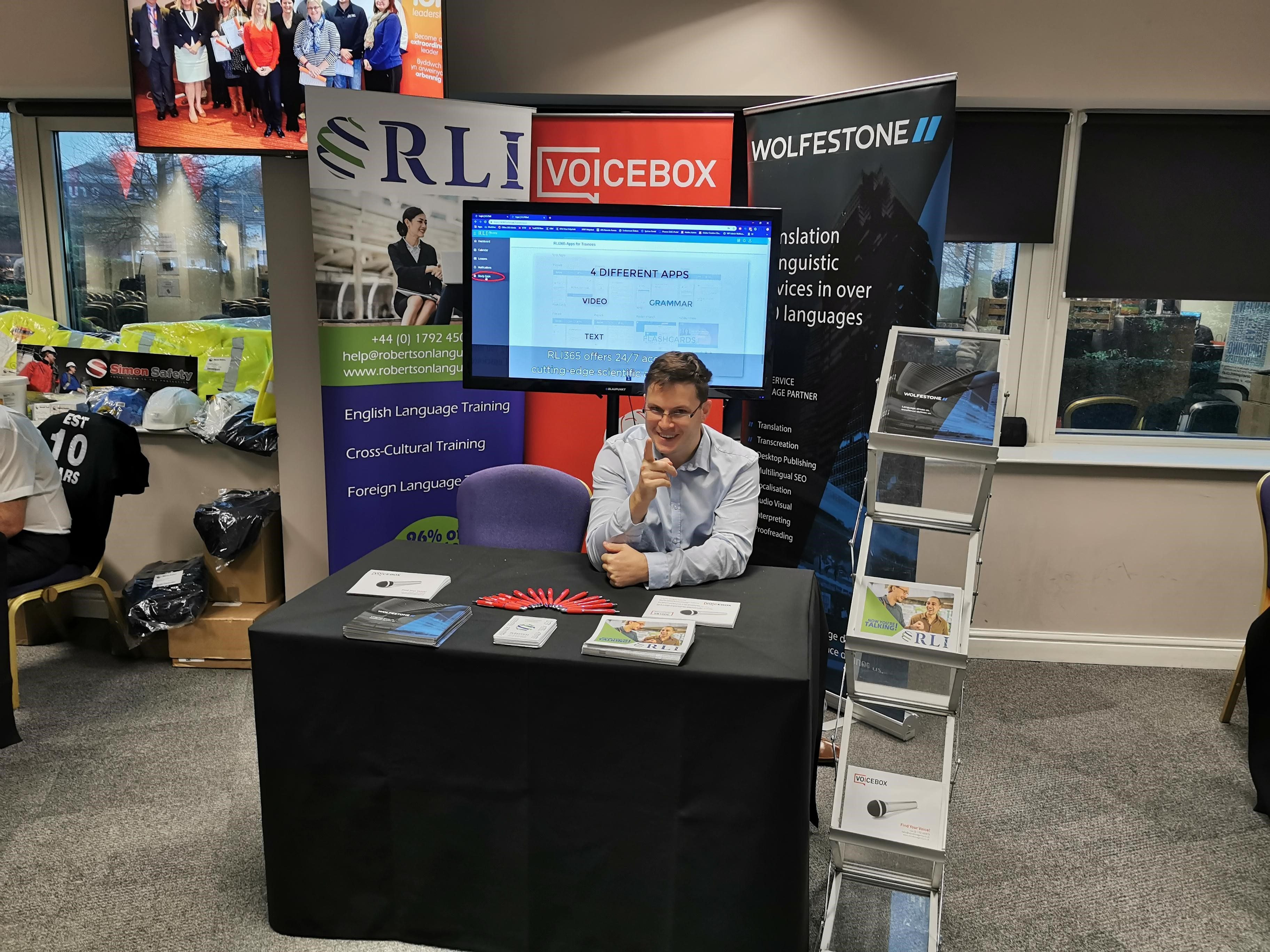 Our head of sales, Craig Allis, sitting at the Wolfestone Group booth at the ION big business bash.