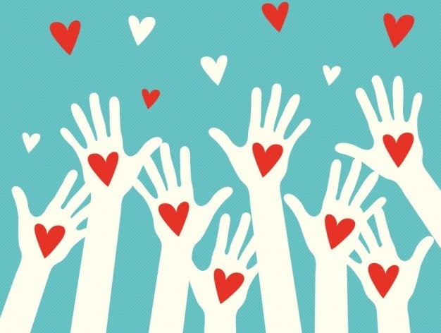 Charity image. Raised hands with red and white hearts.