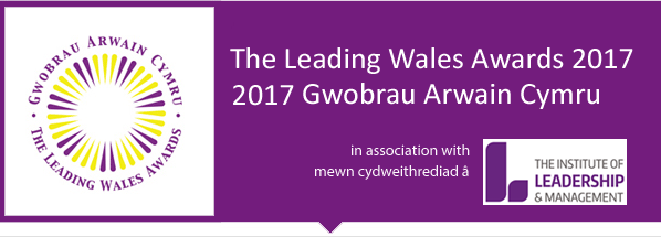 The Leading Wales Awards 2017 logo and text. In association with The Institute of Leadership & Management.