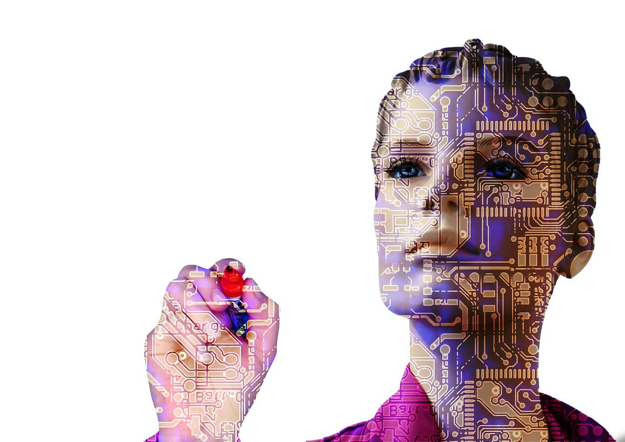 Woman integrated with machines to illustrate humanity and machines in translation