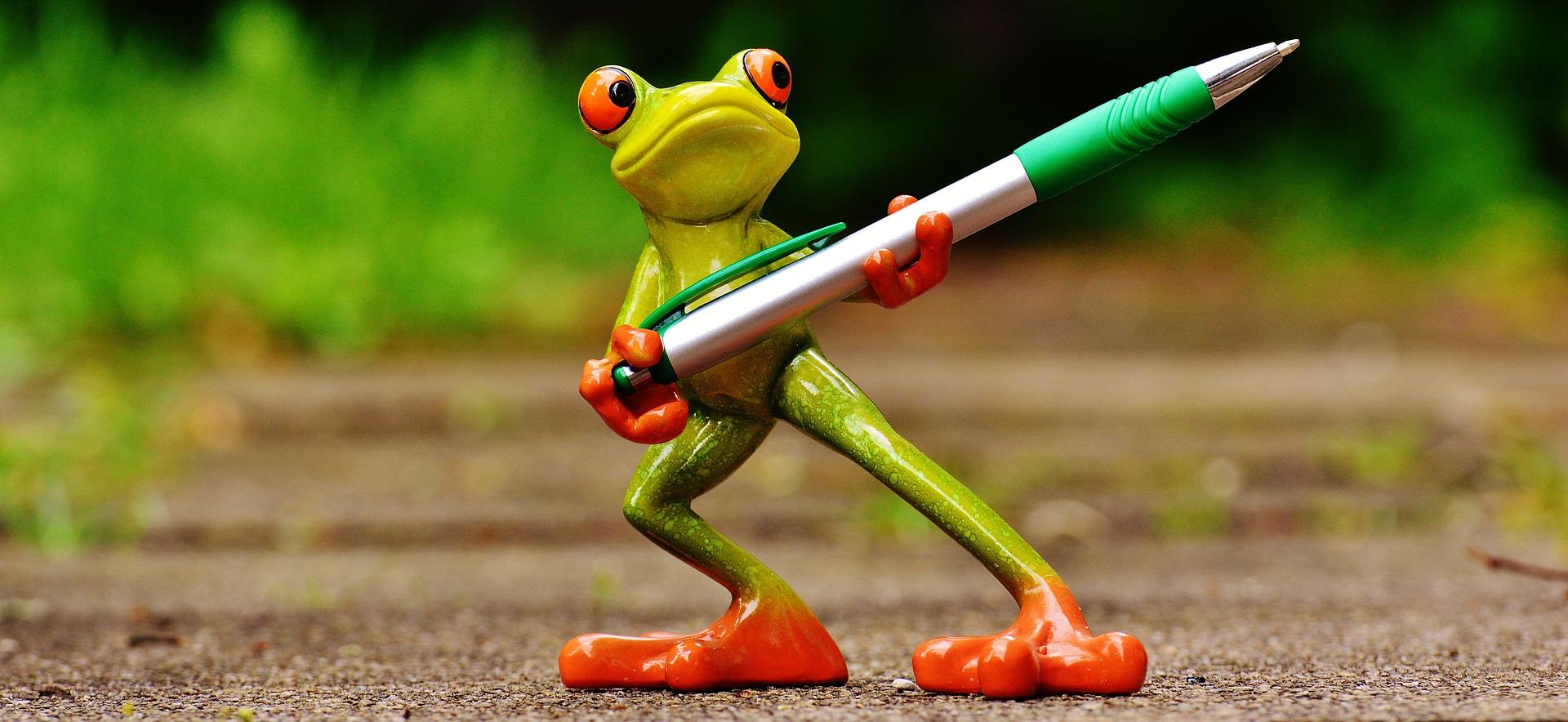 Frog holding a pen as a creative representation of transcreation