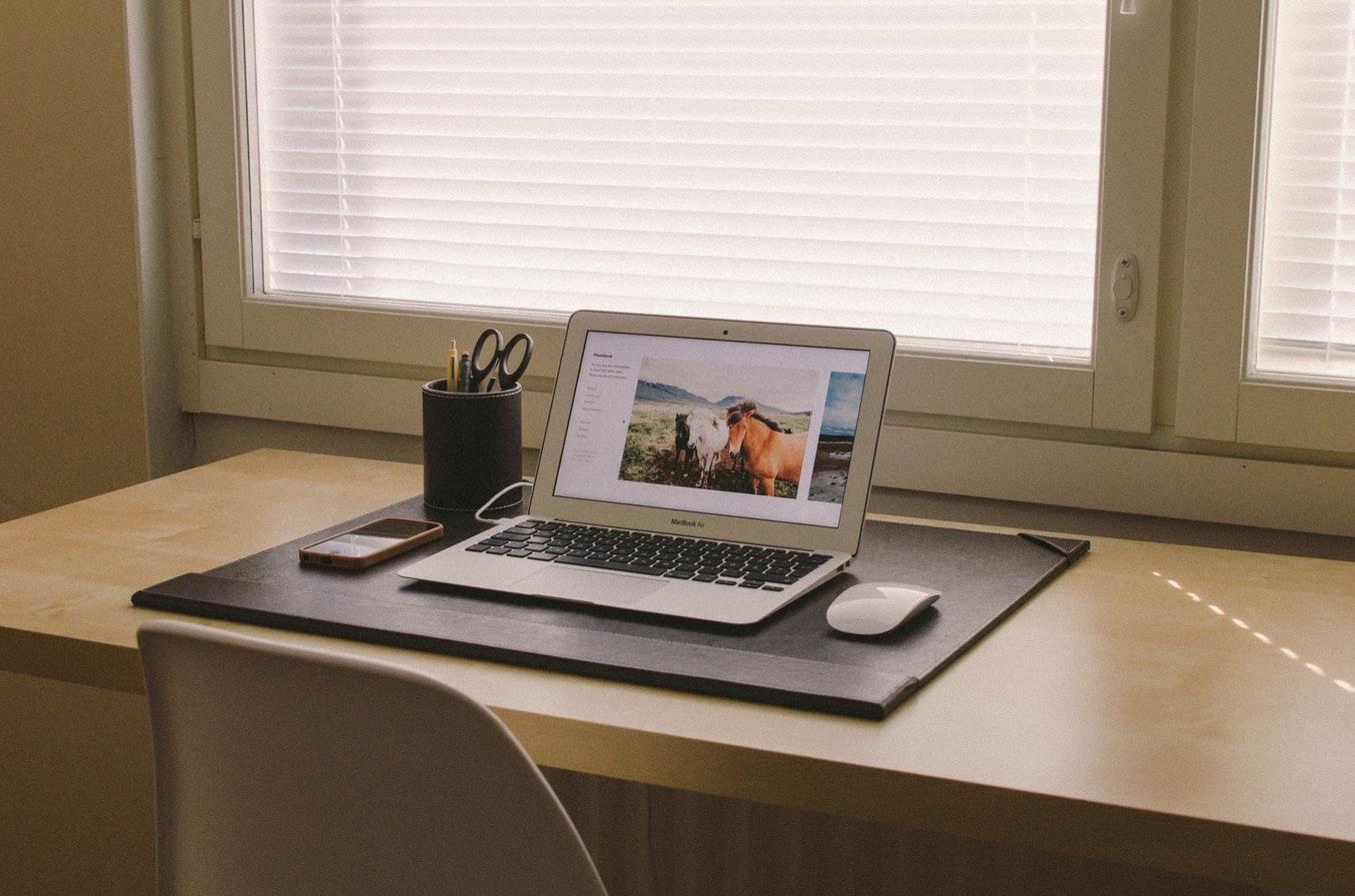 Laptop on desk at home