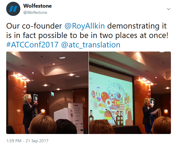 A picture of Roy ALlkin presented by Ruth at the ATC 2017