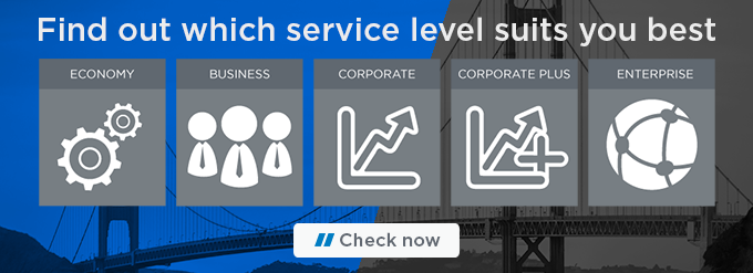 Image of service levels. Text reads: Find out which service level suits you best: economy; business; corporate; corporate plus; enterprise.