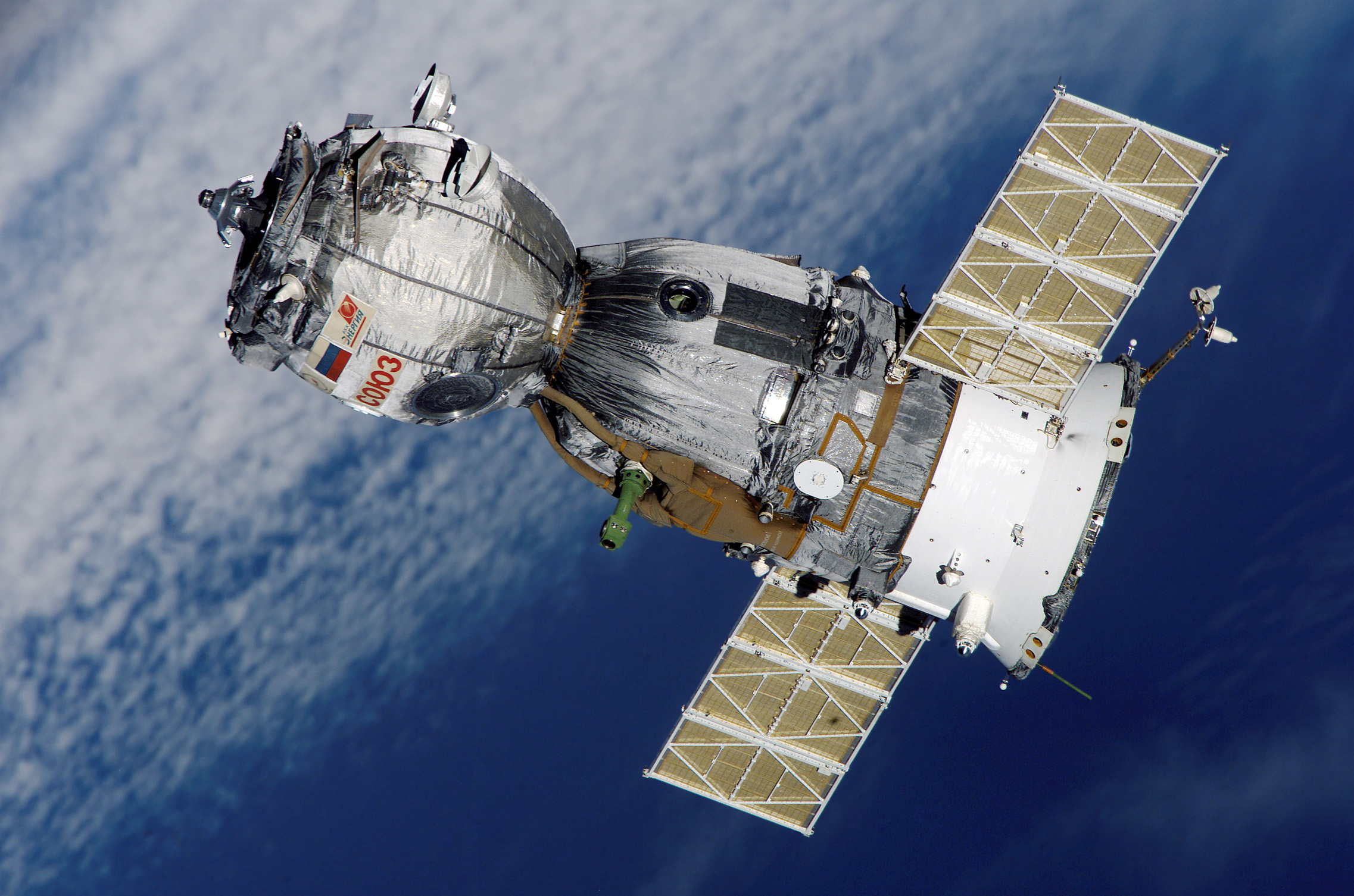 The Soyuz spacecraft which takes astronauts to the ISS