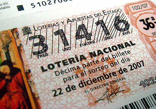 Ticket from the Spanish lottery.