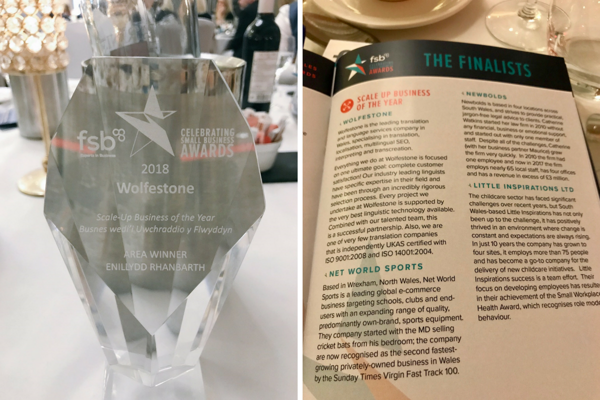 Image of FSB Award; Image of booklet with finalists announced.