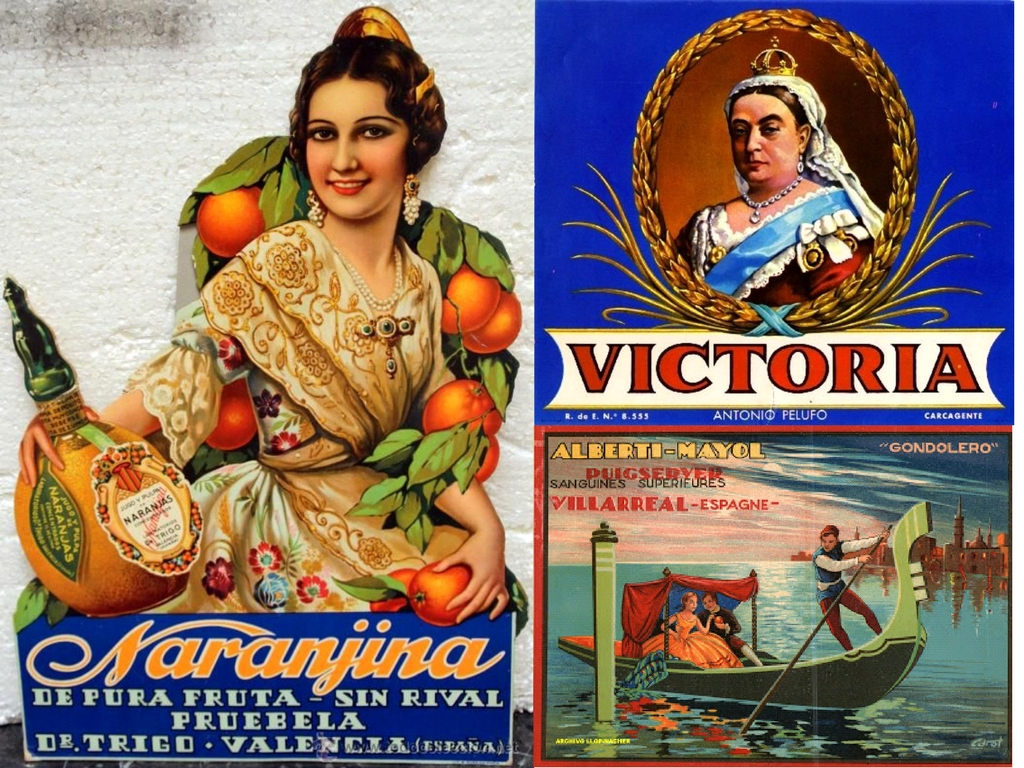 Collage of vintage Spanish orange adverts.