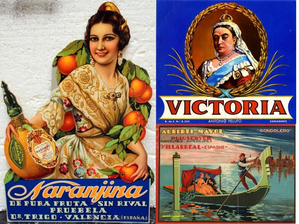 Collage of vintage Spanish orange adverts.