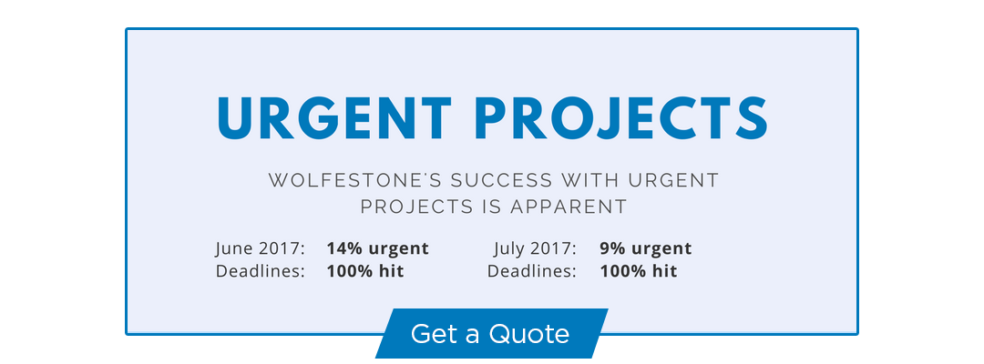Number of urgent projects at Wolfestone hit in June and July 2017. Proof we are the best option as your reliable urgent translation services provider. Get a quote.