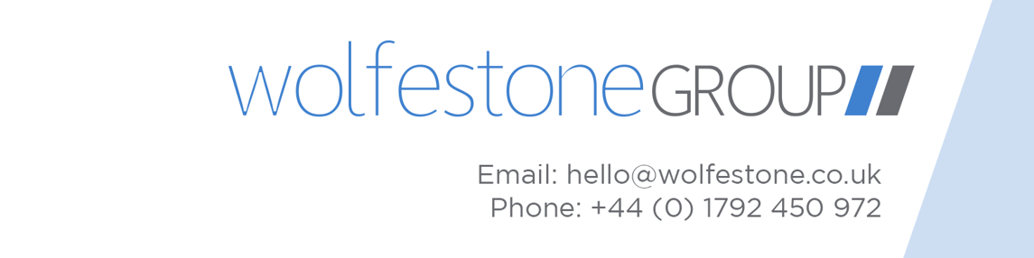Wolfestone Group logo with email: hello@wolfestone.co.uk and telephone number: +44 (0) 1792 450 972