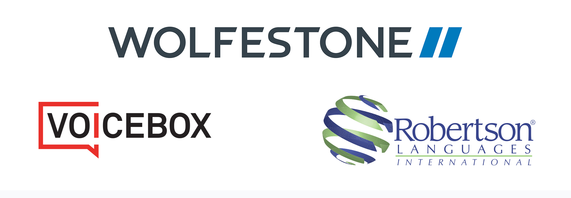 Image of the three brands comprising the Wolfestone Group: Wolfestone, VoiceBox and Robertson Languages International.