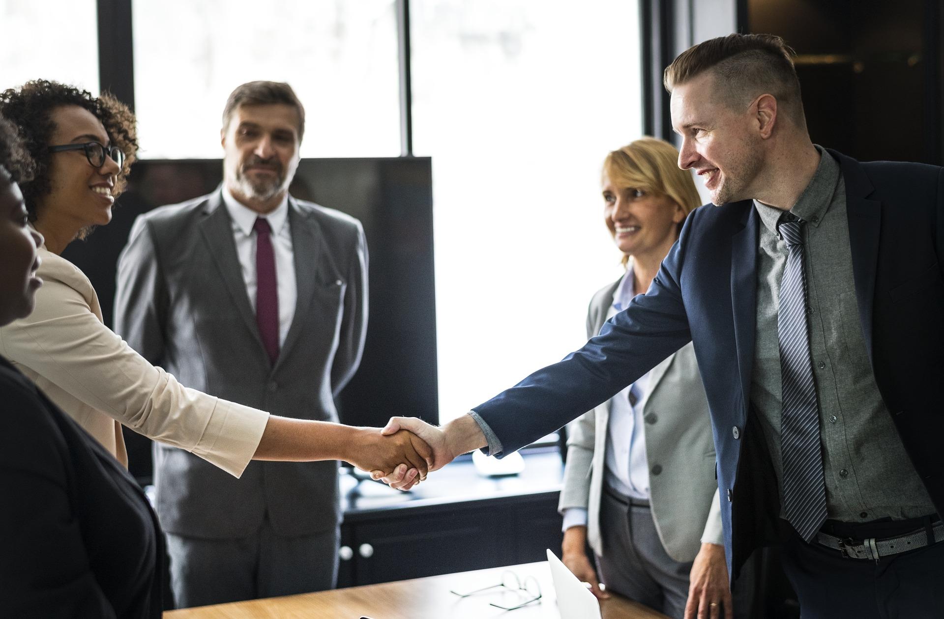 Business meeting involving a professional interpreter