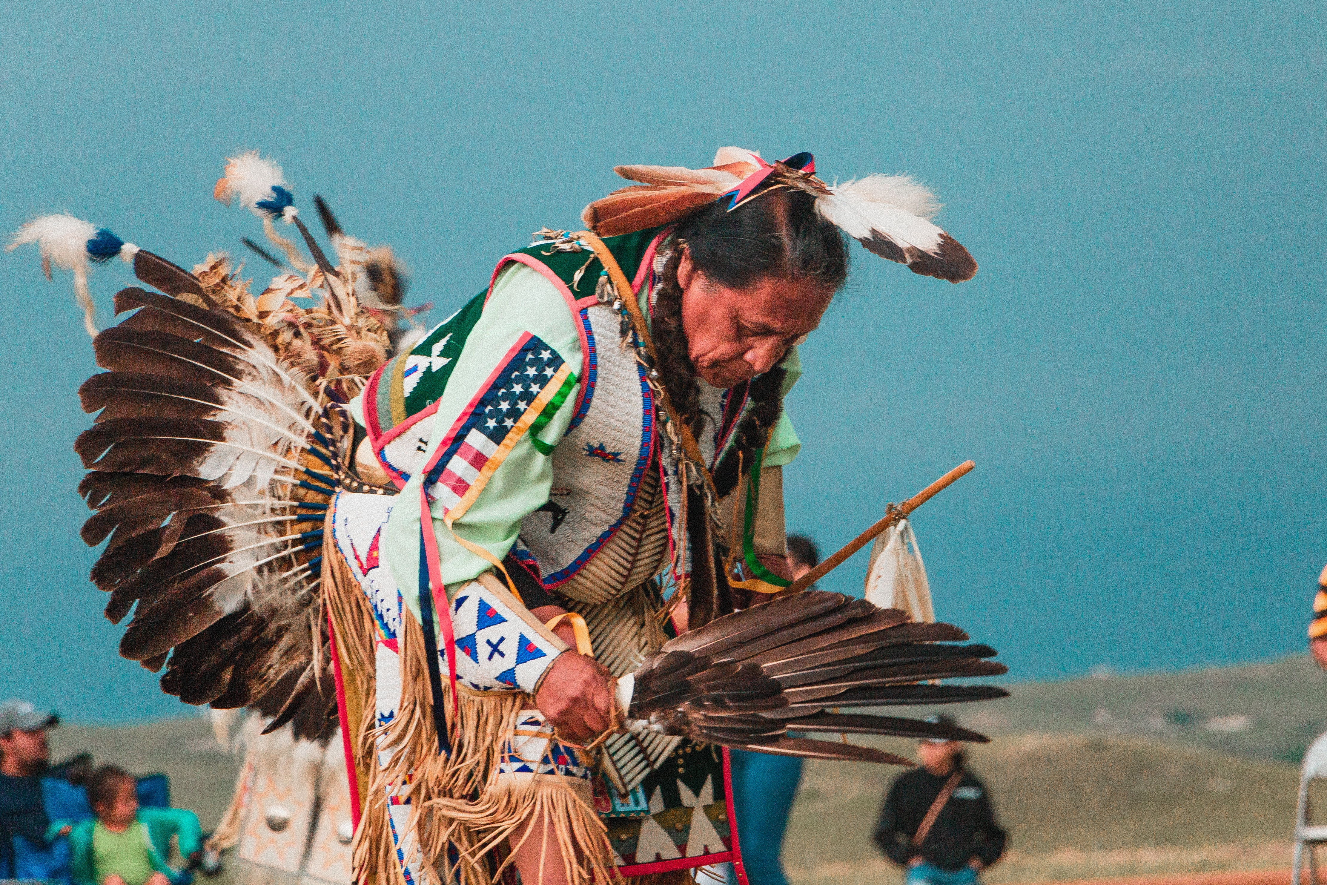An indigenous North American of the Lakota tribe at a Pow Wow festival in South Dakota.