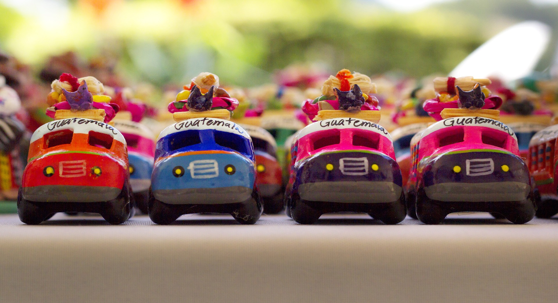 Ornamental toy buses in Guatemala