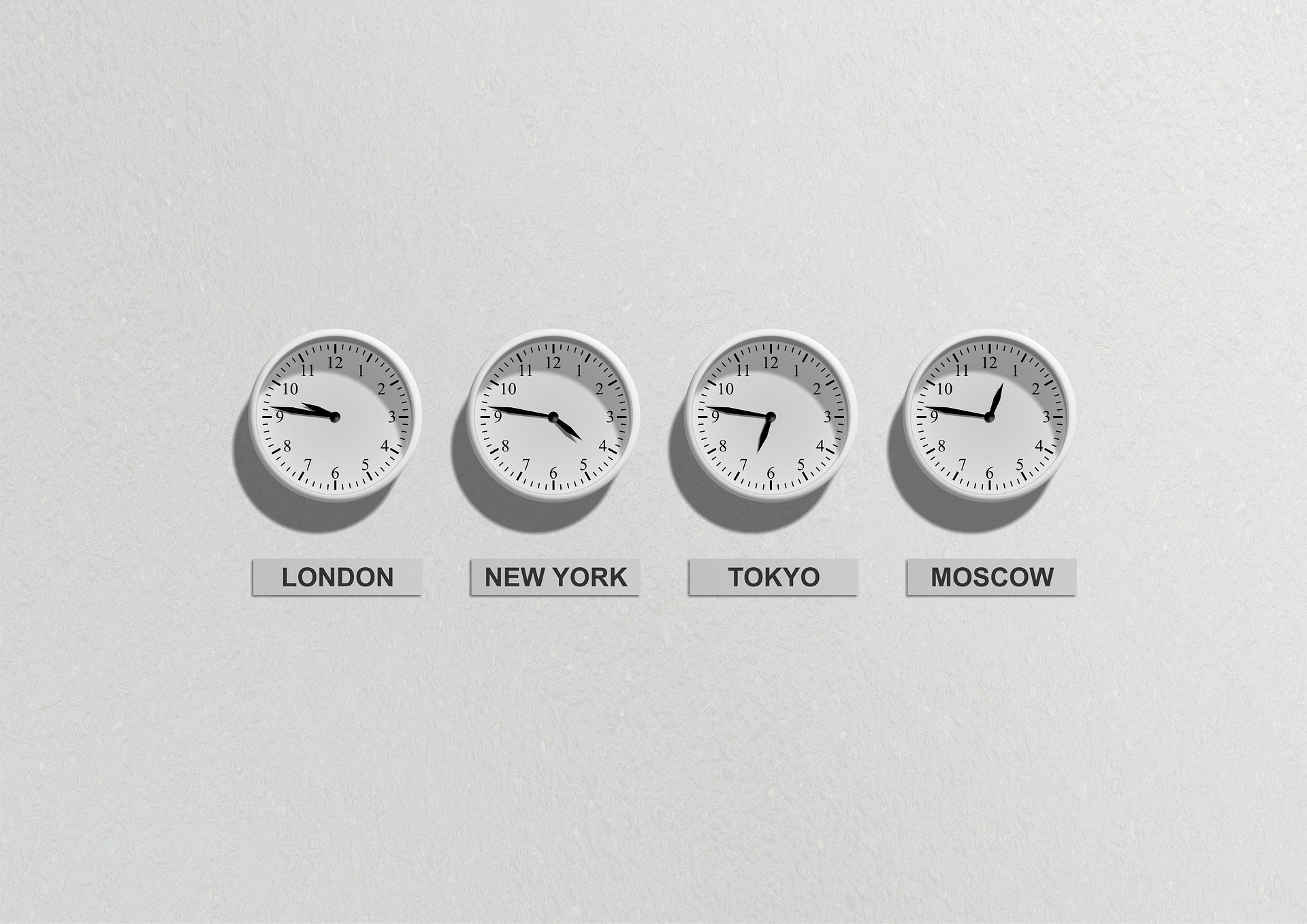 Clocks on wall indicating different time zones