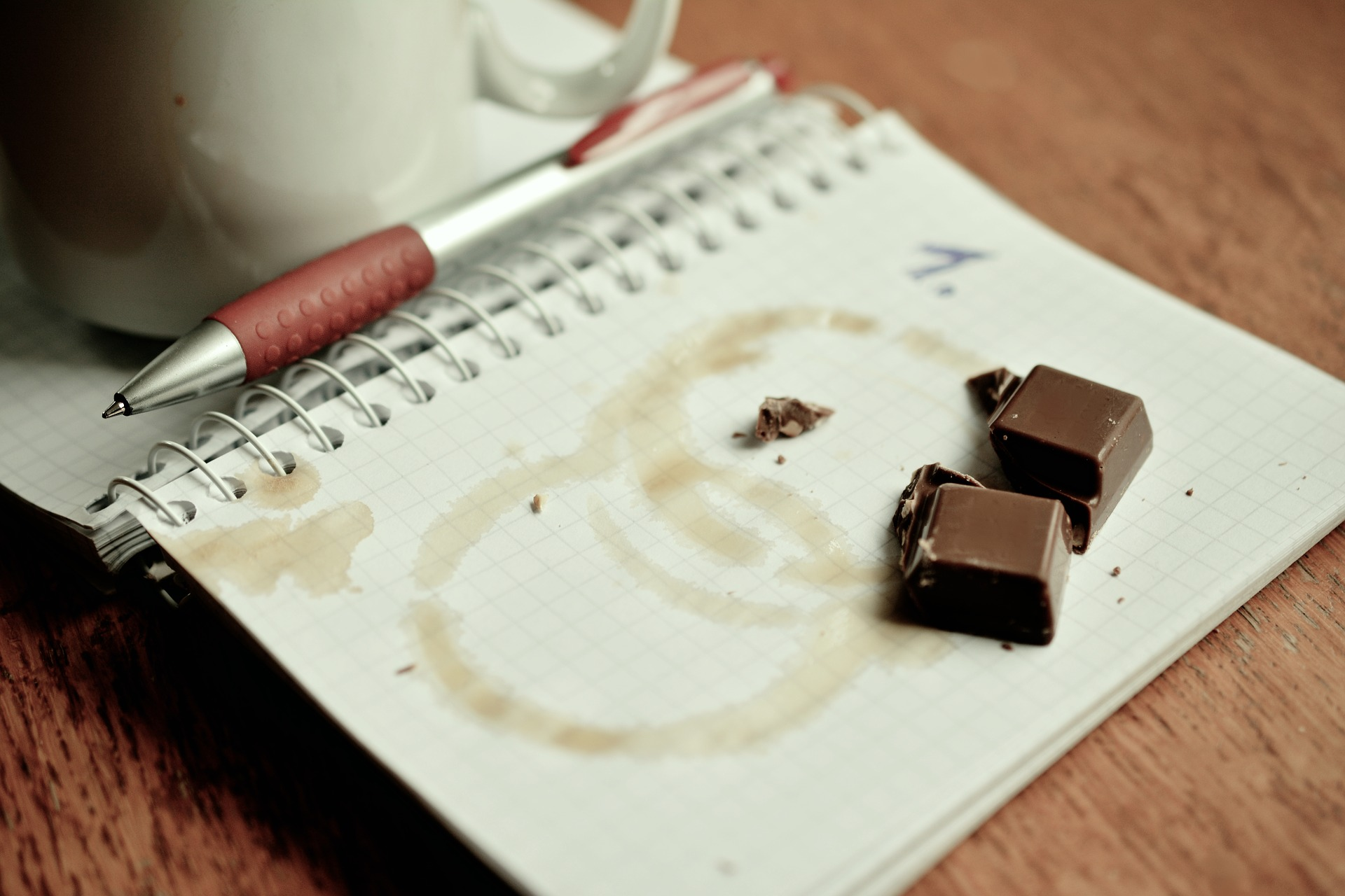 Chocolate on a notebook