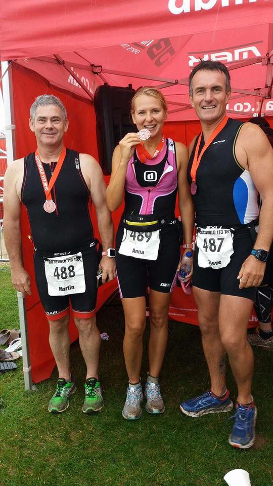 Anna Bastek completing the half-Ironman in the Cotswold