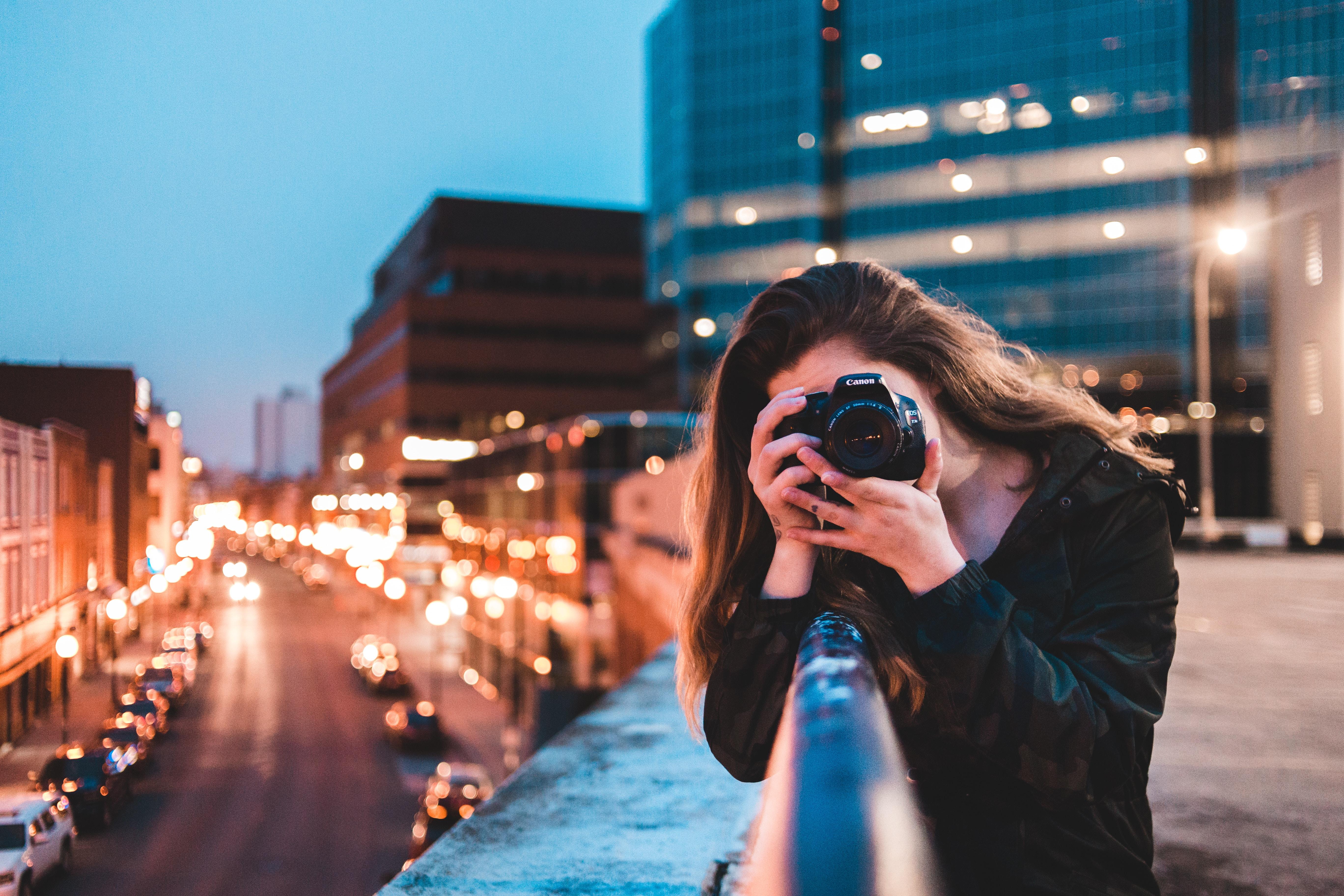 Women taking a photo.