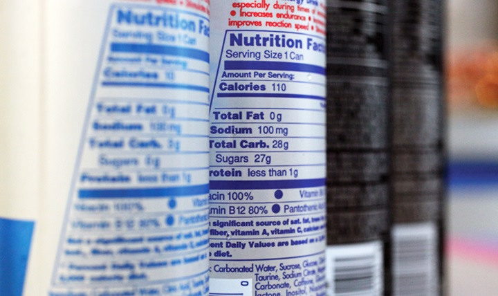 Nutritional labels on food packaging in the English language
