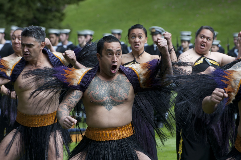 Māoris performing the haka wardance.