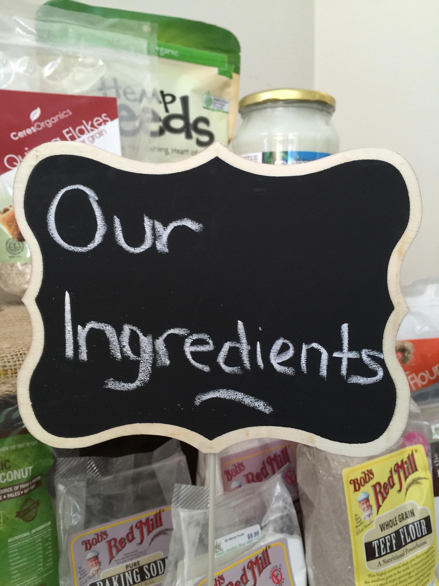 Ingredients sign